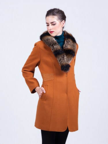 Ladies Overcoat Fur Collar Beige