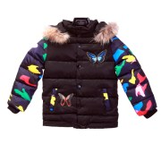 Butterfly Jacket Parasut Fur Collar Kids Black