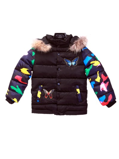 Butterfly Jacket Parasut Fur Collar Kids Black