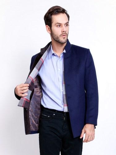 Men Jacket Shawl Collar Blue