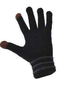 Simple Wool Gloves Three Stripe - Black