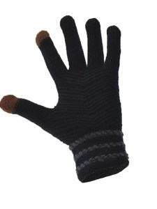 Simple Wool Gloves Three Stripe - Black