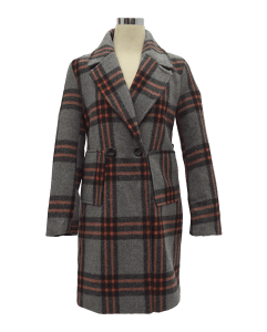 Women Plaid Coat Grey