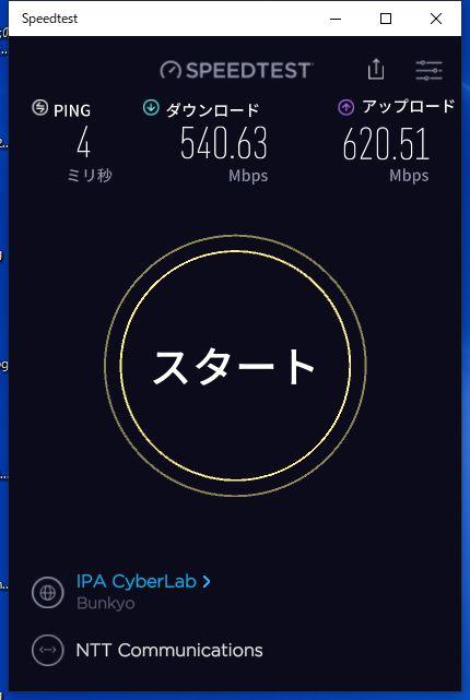 Wi-Fiルーターに有線接続して測定した結果