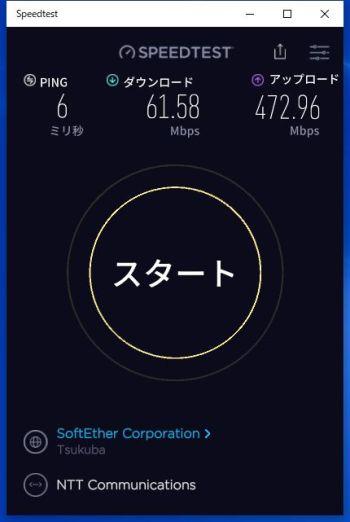 OCNバーチャルコネクトで有線LAN接続した時の夜間帯の測定結果