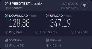 ソフトバンク光Wi-Fi接続の速度測定結果