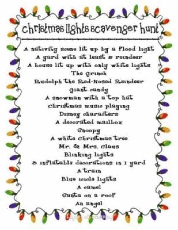 Christmas Lights Scavenger Hunt - Layers of Learning