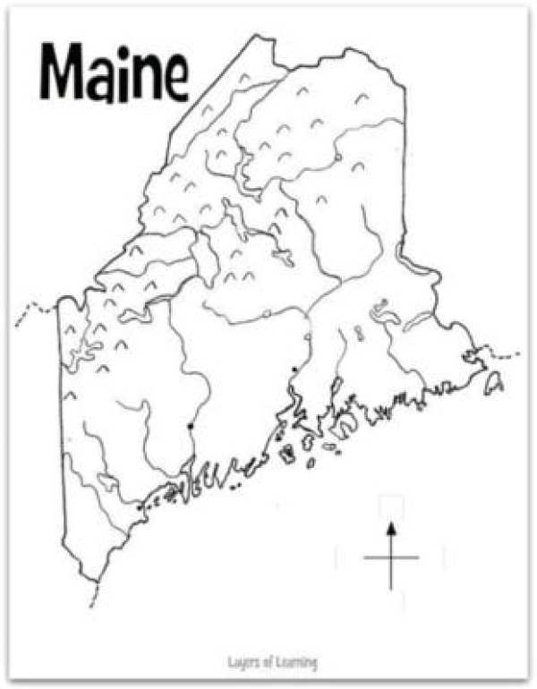State Of Maine Map With Cities.Maine State Study