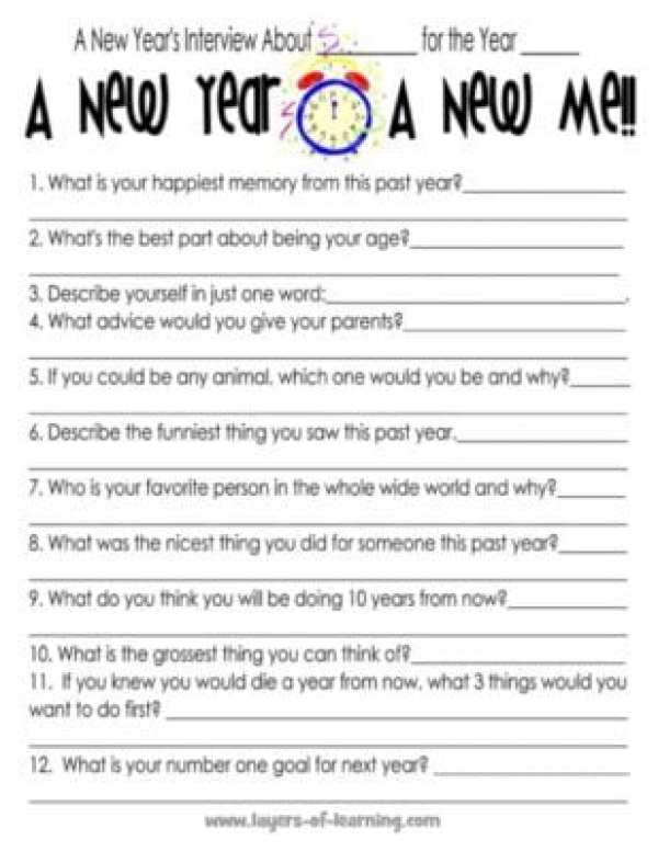 Printable New Year\'s Interview For Kids - Layers of Learning