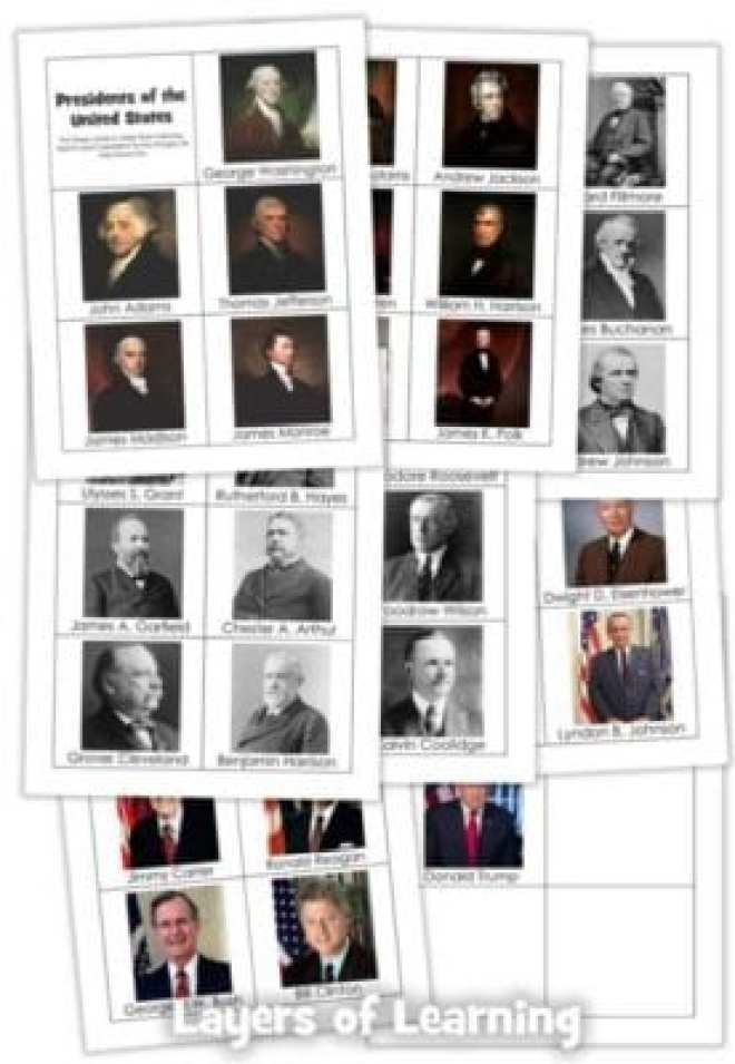US Presidents Printable Cards to memorize the presidents or put on a timeline.