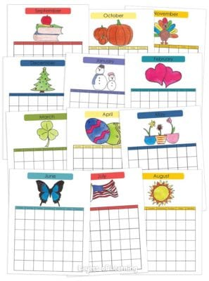 colorful monthly calendars