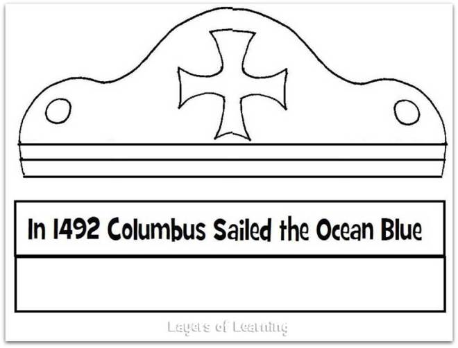 Columbus paper hat to print, color, and wear.