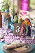 Wood table numbers with cactus