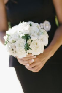 White bridesmaids bouquet with anemone accents