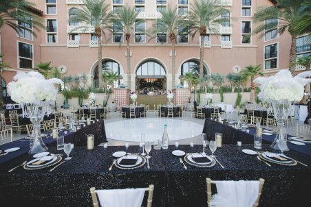 Feather centerpiece, Sequin Linens, Black and white wedding, Westin Lake Las Vegas Wedding, Classic Wedding, Layers of Lovely Floral Design, Scheme Events, Adam Trujillo Photography