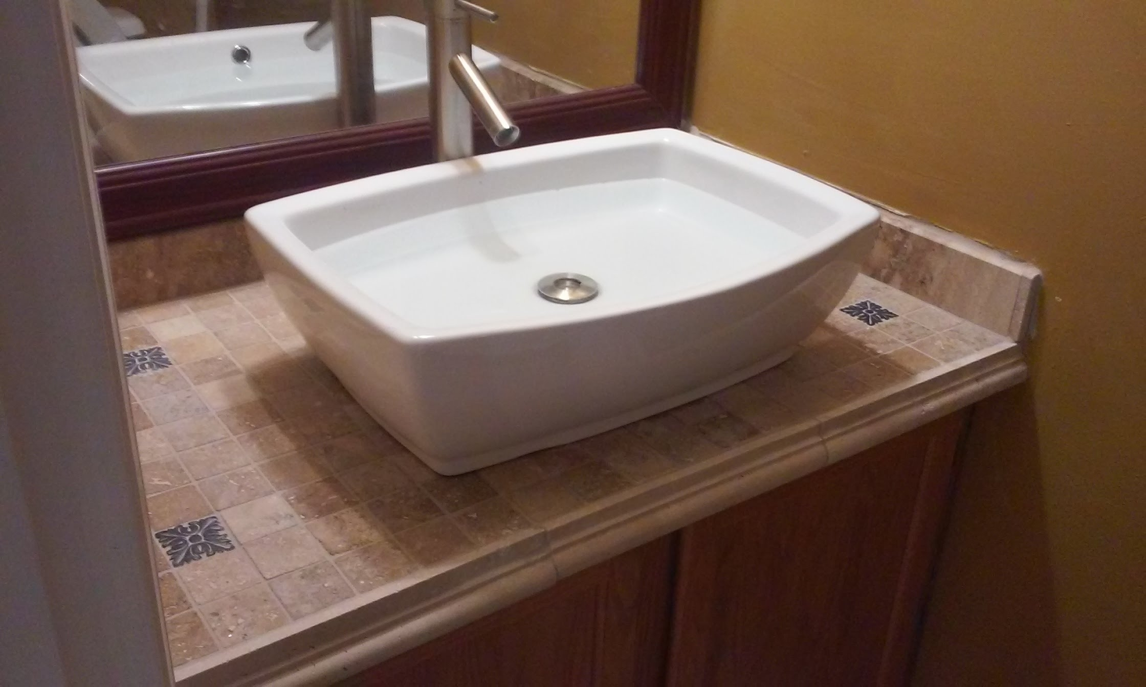 Vanity Top Tiled Top Mounted Sink Youtube Layjao
