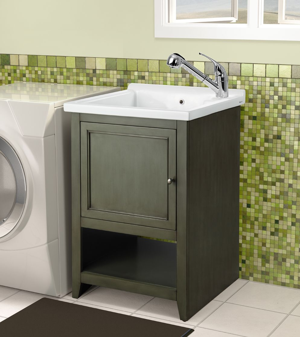 utility sink in cabinet ceramic laundry