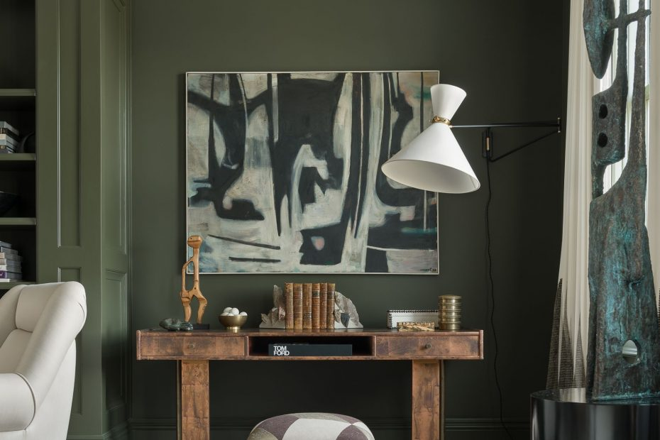 Olive Green Walls With Gray Furniture Layjao
