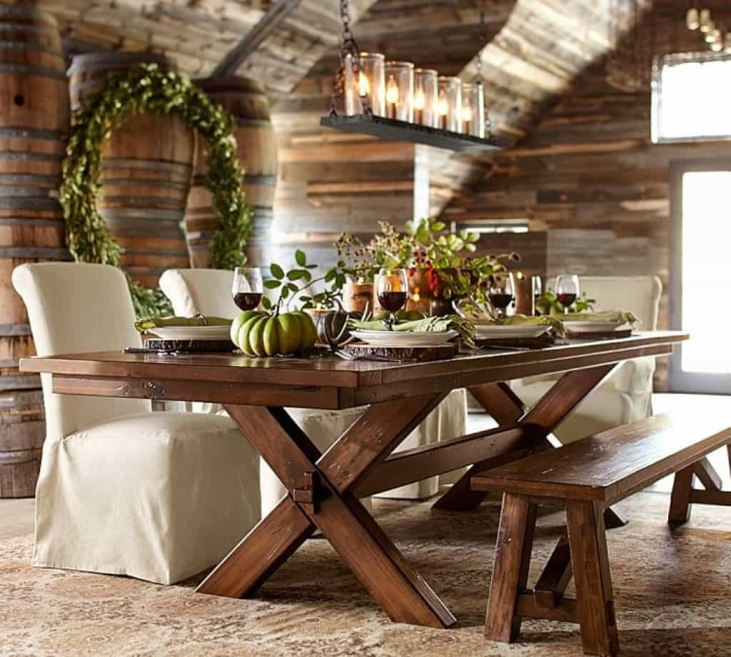 rustic dining room with linear