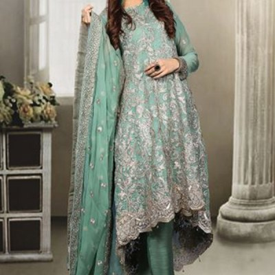 Chiffon Long Trail Fully Embroidered Dress LC-003