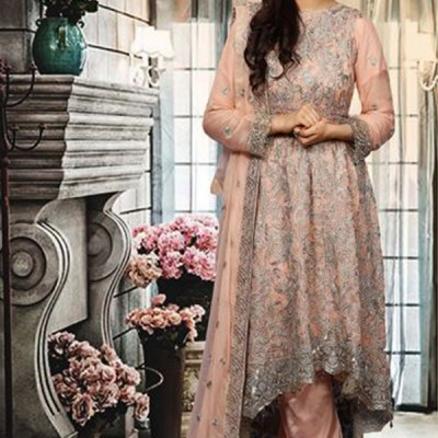 Chiffon Long Trail Fully Embroidered Dress LC-004