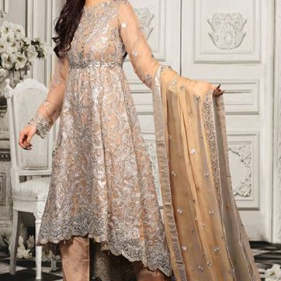 Chiffon Long Trail Fully Embroidered Dress LC-005