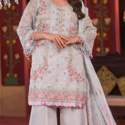 Embroidered & Hand Embalished Organza Suit Adans Libas CAL-8