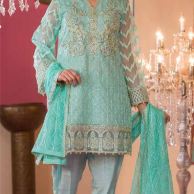 Embroidered & Hand Embalished Organza Suit Adans Libas CAL-11