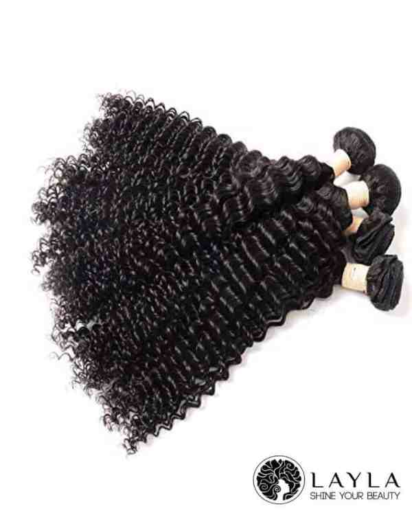 Double drawn weft deep wavy hair extensions color #1b