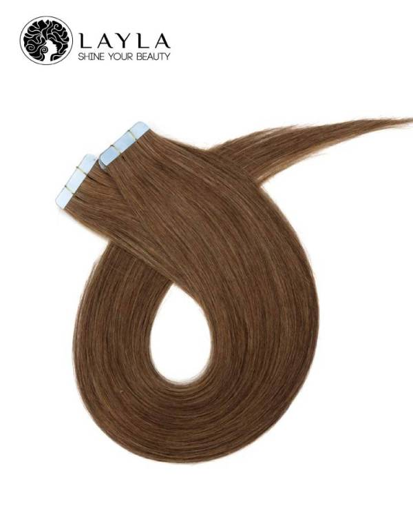 """Tape straight hair brown color 24"""""""