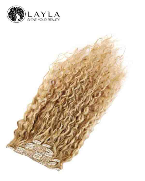 Vietnamese Blonde curly hair extensions Clip-in