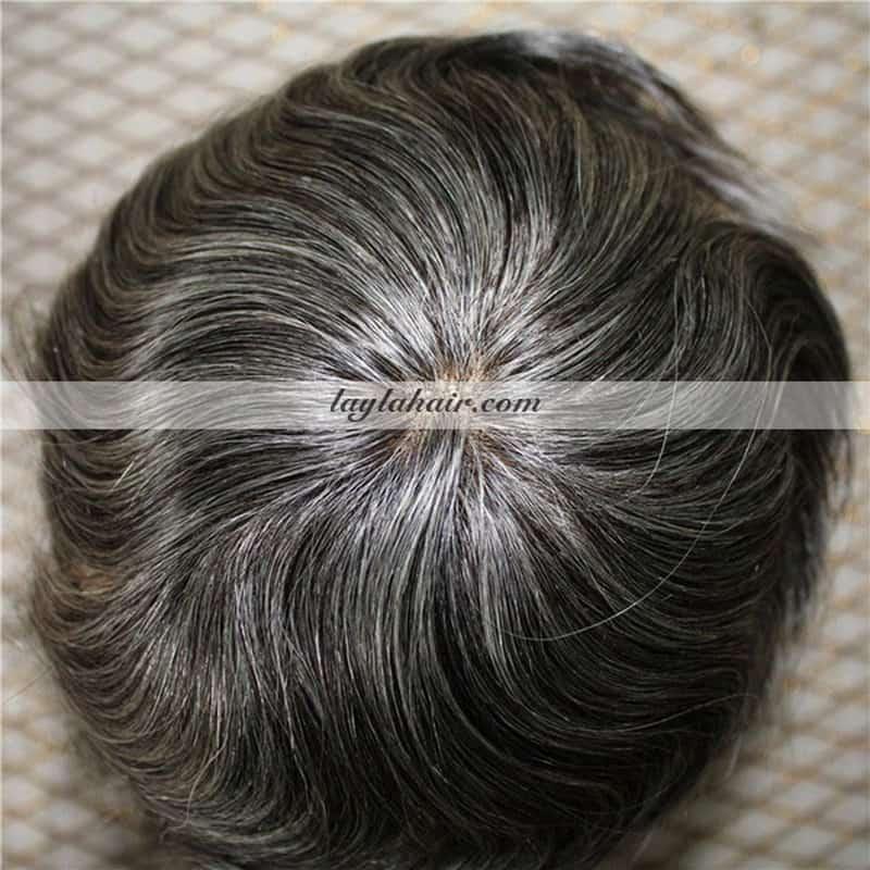 8 Inch Vietnamese Men Gray Hair Toupee