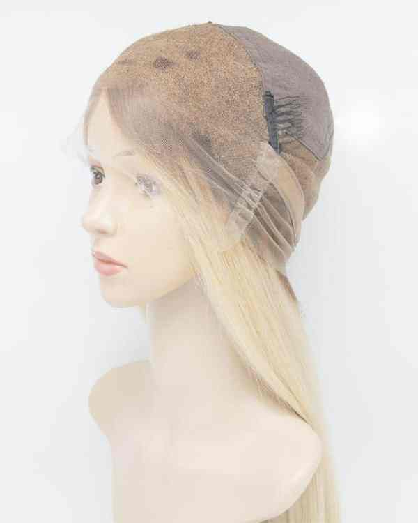 """26"""" Swiss Lace Wig Full Lace Blond With Dark Roots"""