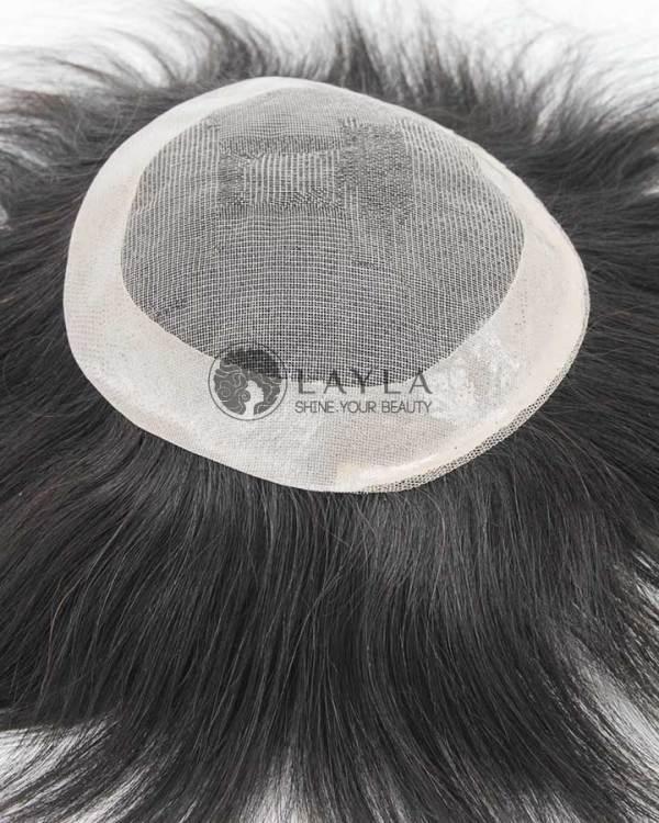 6x6 Mono Toupee Human Hair With PU Coated Perimeter