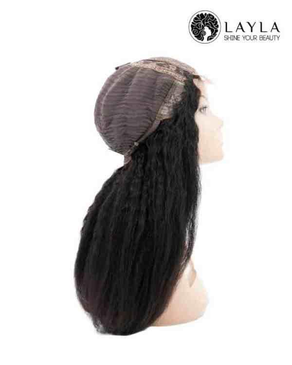Black Kinky Straight Closure Wig Human Hair