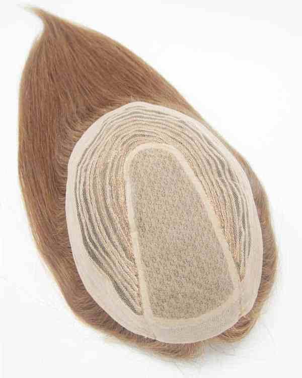 "16"" Brown Silk Topper Human Hair, 130% Density"