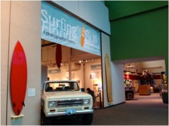 As soon as visitors walk into the Florida Museum of Natural History, they will see a vintage truck with surfboards around it. This intrigues visitors to see what might possibly be inside. Photo by: Nicole Parra