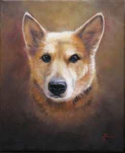 Image of a fine art oil portrait of a pet dog named Lainey by artist Layne Johnson
