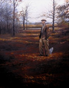 Image of fine art oil portrait of PaPaw and his pet Bobo by Layne Johnson