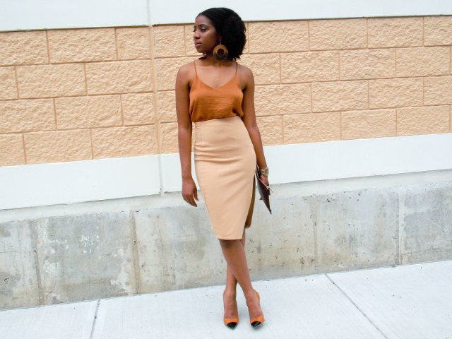 high waisted camel skirt