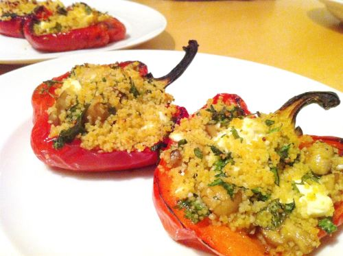Stuffed Peppers, Cous Cous, Mushrooms and Feta, Lay The Table