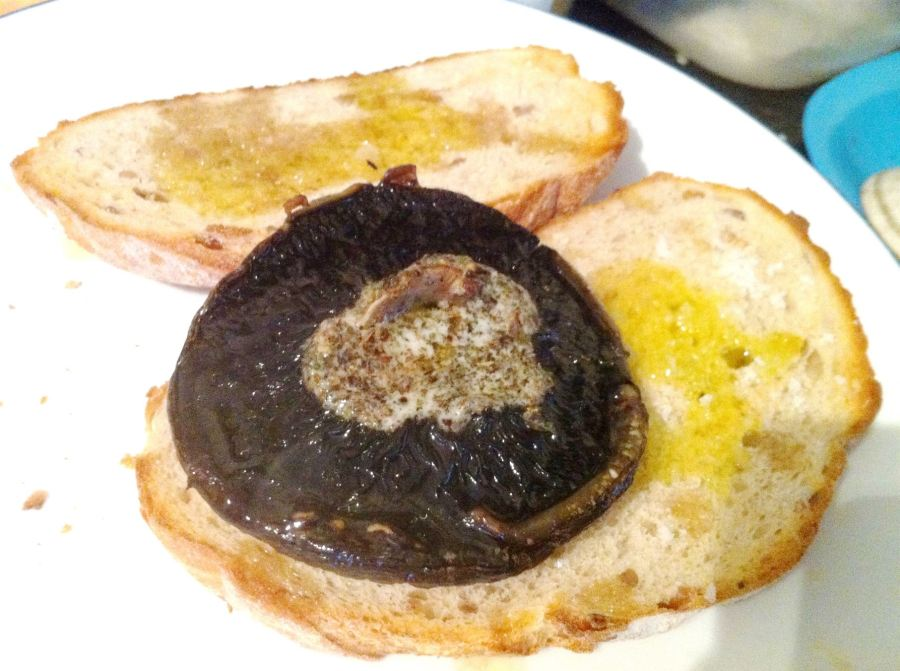 Meat-free Monday..Herby baked mushrooms and sour dough bruschetta, Lay The Table