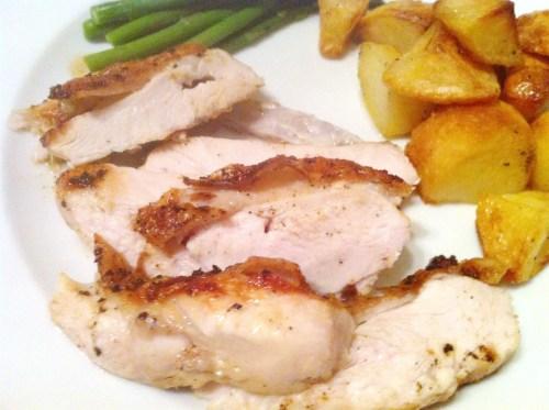 Crispy-skin chicken breast with tarragon cream sauce (or Gorgonzola dip), Lay The Table