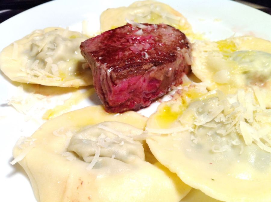 British Beef Week 2013: Beef fillet with Wild Garlic Ravioli and Truffle Oil, Lay The Table