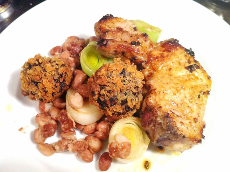 Lemon-Pepper Pork Chops with Panko Black Pudding Balls, Lay The Table