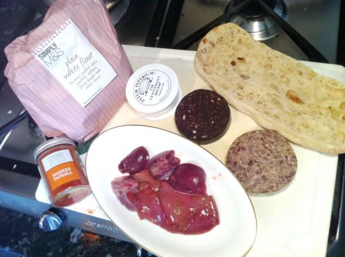 Duck Liver, Heart, Kidney, Black Pudding and Haggis Brunch, Lay The Table