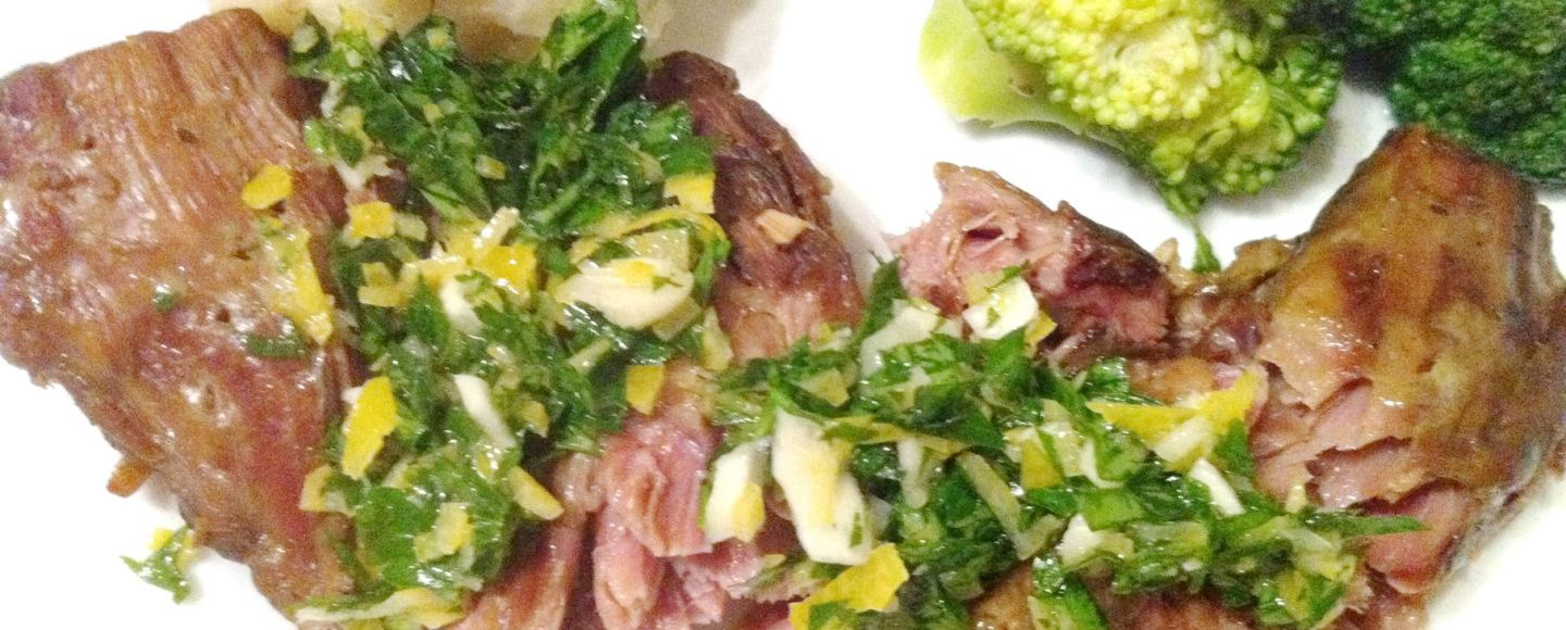 Slow-braised lamb neck with gremolata, Lay The Table