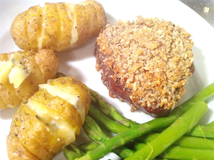 Fillet Steak with a Hazelnut Crust, Blue Cheese-Stuffed New Potatoes and Asparagus, Lay The Table