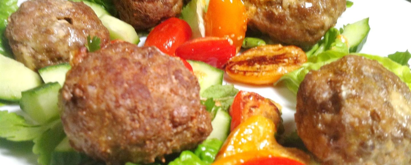Cream Cheese-Stuffed Spicy Meatballs with Tomato Salad, Lay The Table