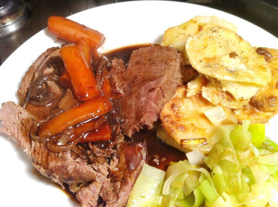 Slow Cooker Beef Brisket in Stout with Dauphinois Potatoes, Lay The Table